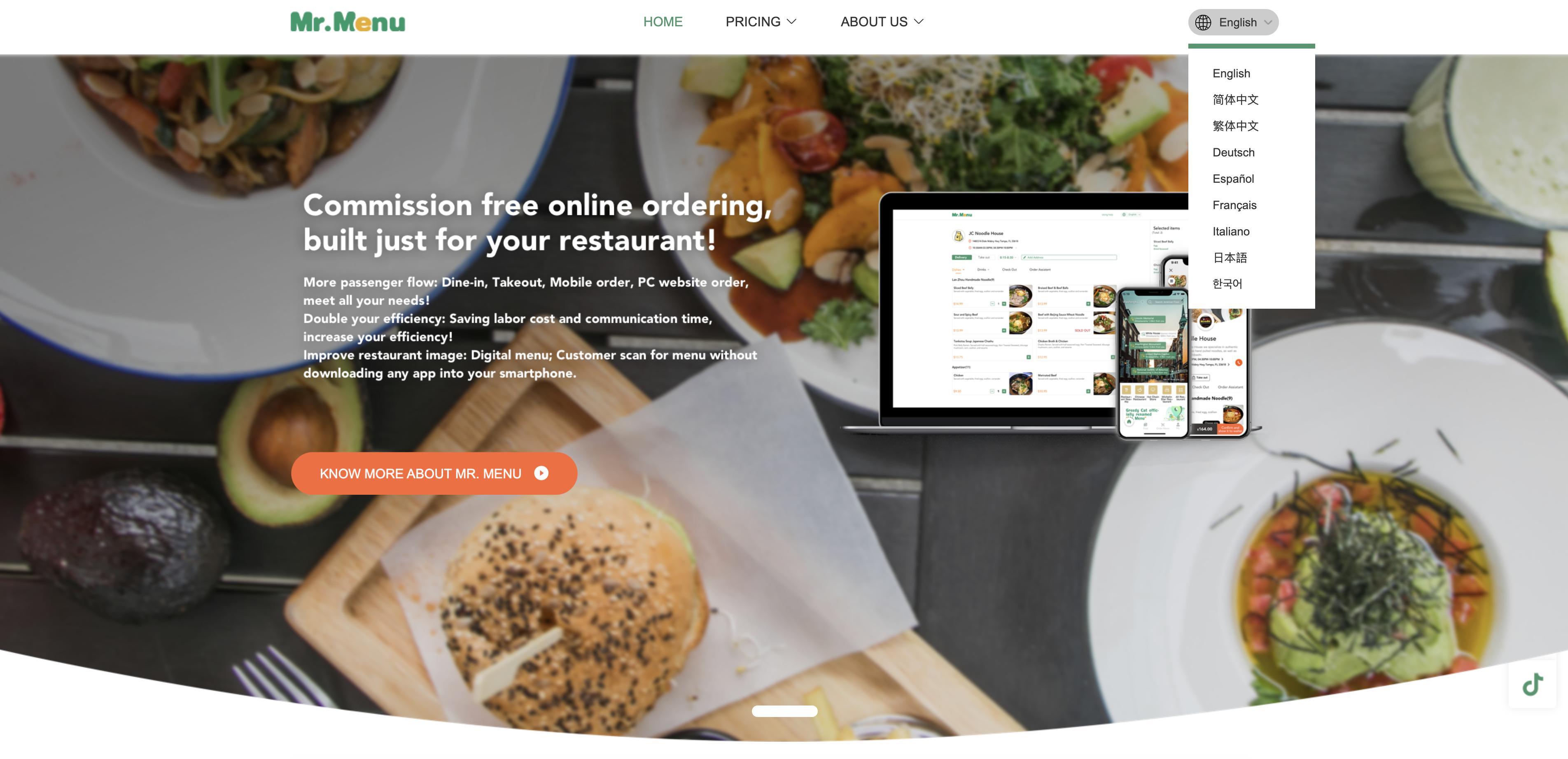Mr. Menu全新九语官网上线,疫情之下助力海外餐厅数字化转型